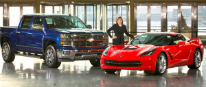 Chevrolet sweeps the North American Car and Truck of the Year voting as the Silverado pickup (left) and the Corvette Stingray are voted the 2014 North American Truck and Car of the Year Monday, January 13, 2014 at the start of the North American International Auto Show in Detroit, Michigan. New General Motors CEO Mary Barra is pictured with the vehicles Wednesday, January 8, 2014 at the GM Renaissance Center Global Headquarters in Detroit, Michigan. (Photo by John F. Martin for Chevrolet)